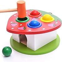 FOONEE Martellante Giocattoli, Giocattoli educativi di Legno Learning Hammering Ball con Martello Box per Bimbi Bambini Bambini–4Palle Colorate