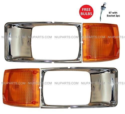 Headlight Lamp Bezel Chrome and Corner Turn Signal Light Lamp - Driver and Passenger Side (Fit: International 3800 4700 4800 4900 8100 ()