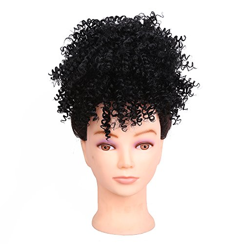 Synthetic Afro Kinky Curly Hair Bun Extension Donut Chignon Hair Drawstring Short Ponytail Hairpieces Wig Updo Hairpiece Bun with Two Clips For African American Black Women (Black) by GoldenBeauty
