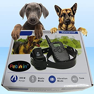 "Dog Training Collar With Remote by Pethinâ""¢ - 330 Yards E-collar - Rechargeable and Waterproof - Strong 100 Level Electronic Vibration + 100 Level Static Shock Control with Safe Beep - Medium or Large Pet & Dogs - High Quality TPU Design - Get Your Best"