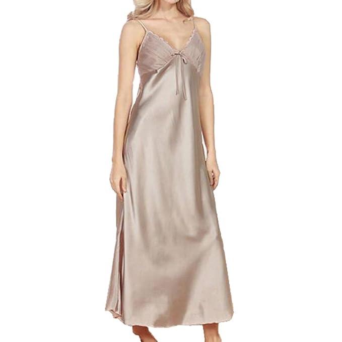Juleya Señoras para Mujer de satén camisón Largo Falso Encaje de Seda Lencería camisón Ropa de Dormir: Amazon.es: Ropa y accesorios