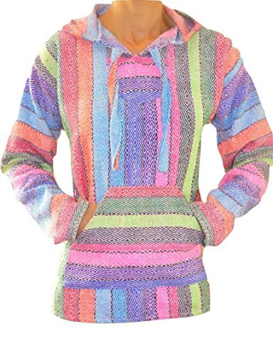 Baja Hoodie Rainbow Mexican Drug Rug Pullover Poncho Sweatshirt ()