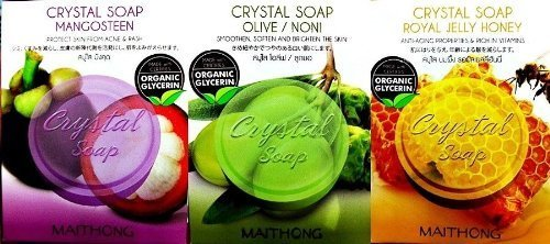 Organic Crystal Soap Mangosteen, Olive/noni, Royal Jelly Honey Bar 70g. / 2.47 Oz