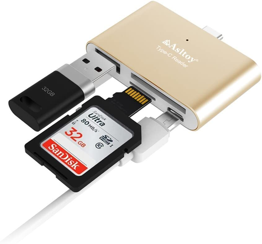 Type C Micro USB Erauh SD Card Reader for Apple iPhone iPad Android Phone Computer MacBook with USB C