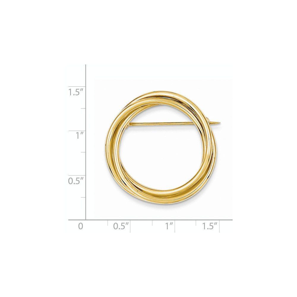 14k Solid Yellow Gold Circle Pin by Mia Diamonds and Co. (Image #2)