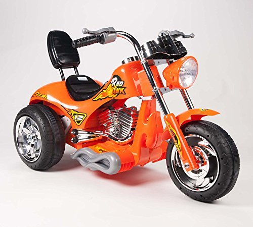 BIG TOYS DIRECT Kids 12V Red Hawk Motorcycle in Orange
