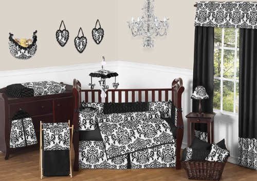 Sweet Jojo Designs 9-Piece Designer Black and White Damask Isabella Baby Girls Bedding Crib Set (Crib Collection Isabella Bedding)