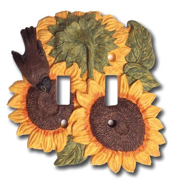 (Sunflower Kitchen Decor Double Switch Plate Cover)