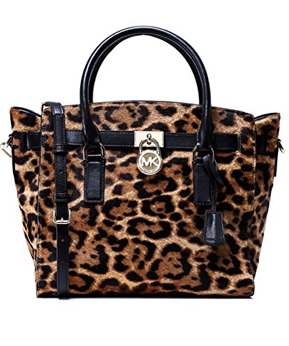 MICHAEL Michael Kors Hamilton Large Leopard Calf Hair Satchel , Butterscotch Butterscotch Handle