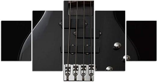 UDPBH 5 Paneles Guitarra Negra Pintura Musical Arte De La Pared ...