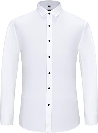 Men Dimention Dress Shirt Regular Fit Solid Color White