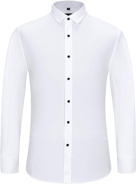 J.VER Hombre Camisas de Vestir Ajuste Regular Manga Larga Camisas Formales Comerciales