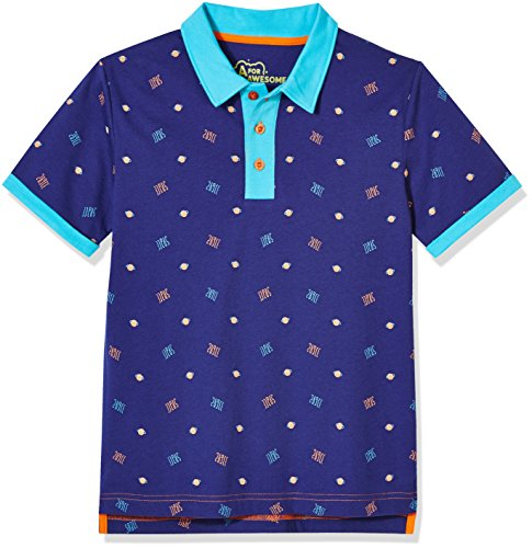 A for Awesome Boys Classic Short Sleeve Polo Cotton Jersey Shirt X-Small Space AOP