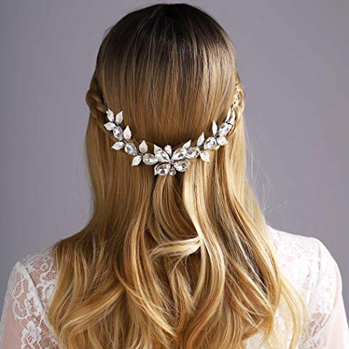 Yean Flower Wedding Hair Vine Bridal Headband Rhinestonne Silver Leaf Hair Accessories for Bride and Bridesmaid