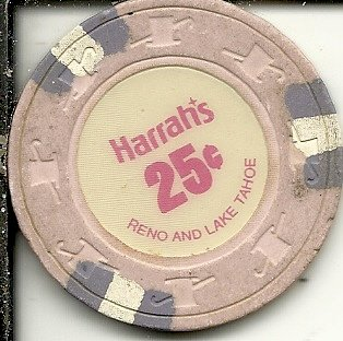 ($.25 harrahs pink reno lake tahoe nevada casino chip)