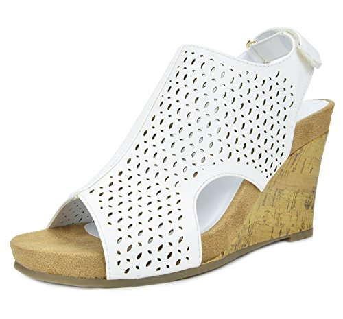 Mid Heel Platforms (TOETOS Women's Solsoft-6 White Pu Mid Heel Platform Wedges Sandals - 9.5 M US)
