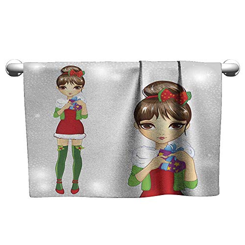 (Hand Towel Fashion Girl Dressed As Santa Claus Holding Gift Scrub Towel Towels for Kids 8 x 24)