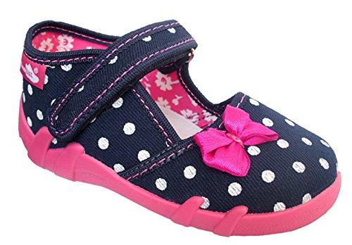 Renbut Kinder Mädchen Baby Hausschuhe Ballerinas Schleife Pink Blau Navy Punkte Weiß Innensohle Leder Größe 24