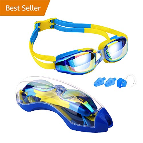 Hurdilen Kids Swim Goggles, Swim Goggles for Kids Swimming Goggles with Anti-Fog UV Protection No Leaking Coated Lens with Nose Clip, Earplugs,Case for Boys Girls Youth Kids -