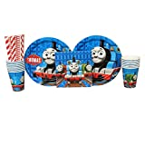 Thomas the Tank Engine Party Supplies Pack for 16 Guests: Straws, Dinner Plates, Luncheon Napkins, and Cups