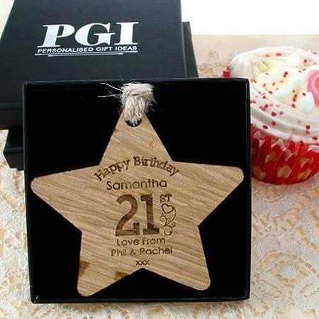 Girls 21st Birthday Gift Wooden Star Personalised