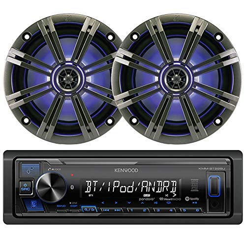 (Kenwood KMM-BT225U Single-DIN Digital Media Bluetooth Receiver, 2 x Kicker 43KM654LCW 6.5