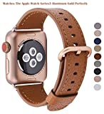 PEAK ZHANG Apple Watch Band 42mm Men Women Light Brown Genuine Leather Replacement Wrist Strap with Series 3 Gold Metal Clasp for Iwatch Series 3 Gold