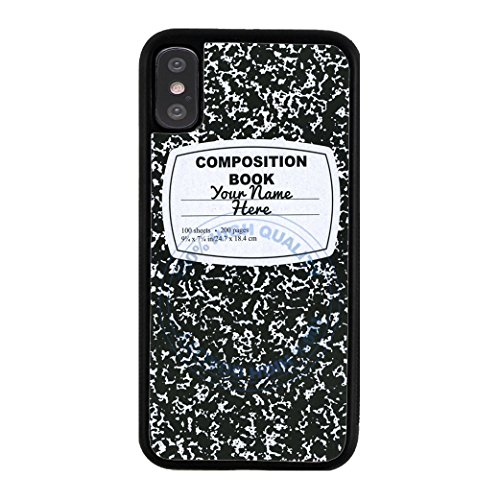 BleuReign(TM) Personalized Custom Name Composition Notebook TPU RUBBER SILICONE Phone Case Back Cover For Apple iPhone X Ten (Personal Monogram)