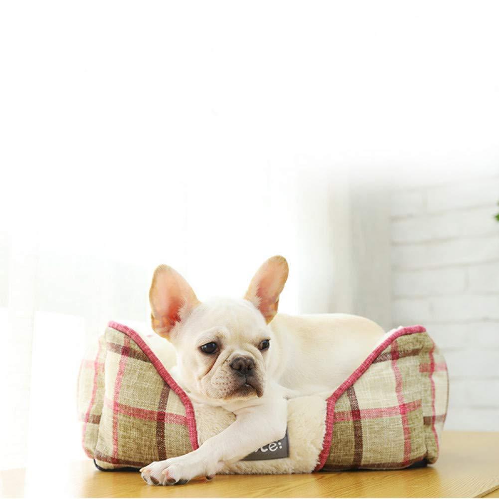 Brown 75x62x19cm CZHCFF a cuadros ropa de perros cama caliente suave de estilo británico cachorro gato casa lavable cuadrado sofá perrera para pequeño perros mediano nido