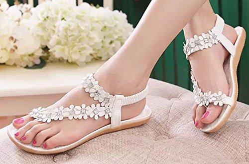 Donalworld de flores y cuentas de manga corta para mujer Bohemia para niña diseño de playa con tapa-flop de paleta para zapatos sandalias Sweet Blanco - crudo (Offwhite)