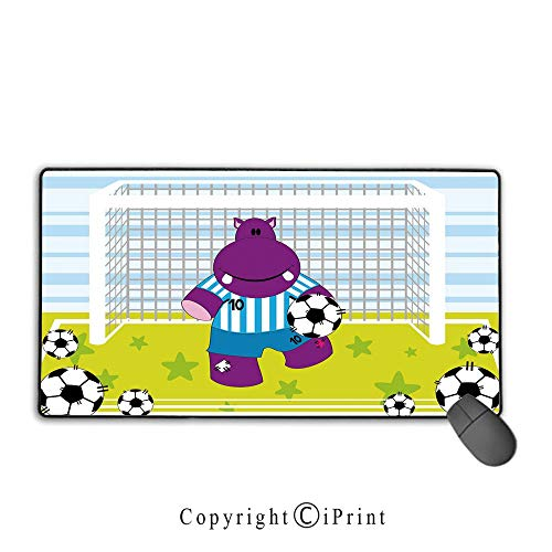 Game speed version medium cloth mouse pad,Sports Decor,Cute Hippopotamus Soccer Goal Keeper Football Cartoon Print,Apple Green Baby Blue Purple, Non-slip rubber base Mouse pad with lock,15.8