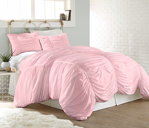 Chezmoi Collection Cassandra 3 Piece Chic Ruched Duvet Cover Set (King, Pink) Pink Duvet Collection