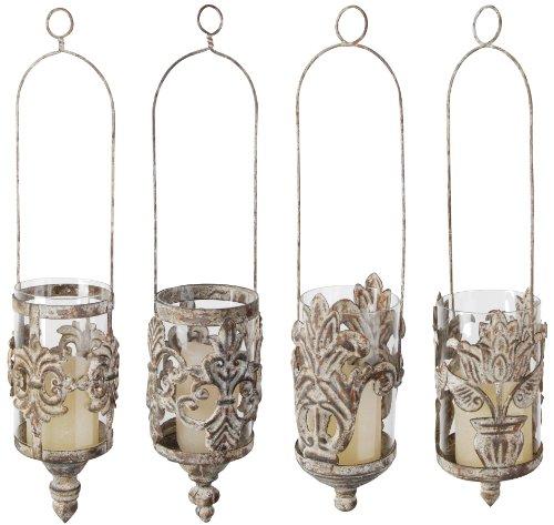 Esschert Design Usa Am07s Aged Metal Hanging Lanterns In Assorted Styles Set Of 4