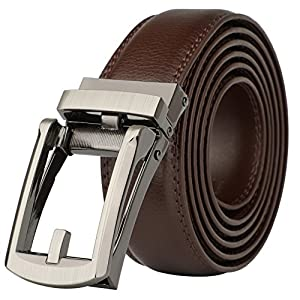Men's Comfort Genuine Leather Ratchet Dress Belt with Automatic Click Buckle (#32314 Brown Belt)