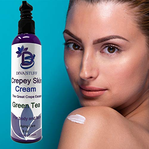 51W Seeq7tL - Diva Stuff Crepey Skin Body & Face Cream with Hyaluronic Acid, Alpha Hydroxy and more for Dry, Damaged & Dead Skin, 8oz - Green Tea Scent (Made in the USA)
