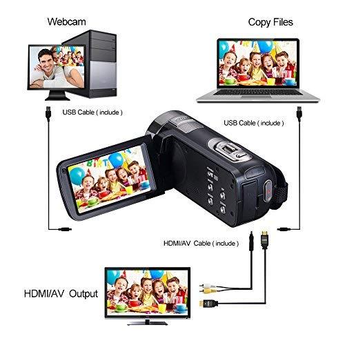Videocamara Full HD Camera de Video 1080p 24.0 MP 3 pulgadas LCD rotativa pantalla digital videocámara 16X zoom digital función de control remoto grabadora de vídeo