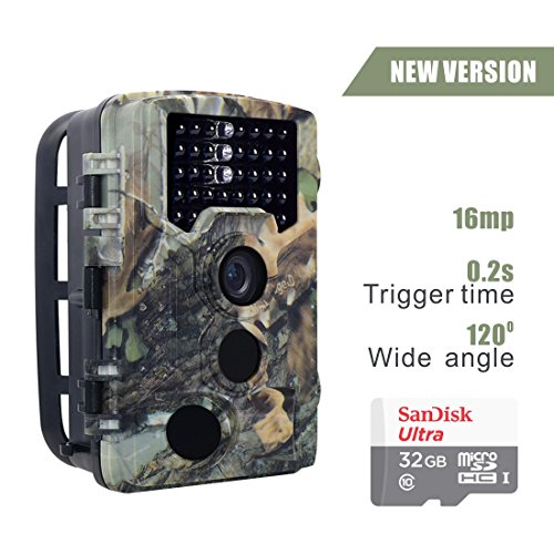 16MP HD Wildlife camera Train & Game Home security, Infrared Scouting Cameras 1080P Night Vision up to 65ft with 46pcs IR LEDs PIR 120 Degree and IP56 Waterproof (16MP camouflage pattern+32GB card)