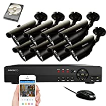 SANSCO Security Camera System with 8-Channel 1080N DVR, 8 Bullet Cameras (All HD 720p 1MP), and 2TB Internal Hard Drive Disk - All-in-One Surveillance Camera Kit