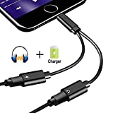 digital advantage 100 - 2 in 1 Lightning Jack Adapter for iPhone X /8/8Plus7/7Plus&ipod&ipad, Dual Lightning Headphone Adaptor Charger Converter. Support Call & Listen & Charge. (Black)(Support 10.3/11 System)