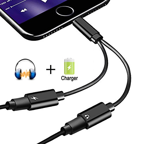 2 in 1 Lightning Jack Adapter for iPhone X /8/8Plus7/7Plus&ipod&ipad, Dual Lightning Headphone Adaptor Charger Converter. Support Call & Listen & Charge. (Black)(Support 10.3/11 System) (Dual Headphone Jack For Ipad)