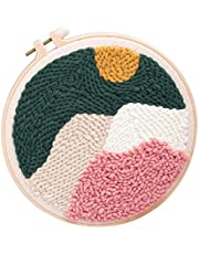 Bonarty DIY Landscape Latch Hook Kits for Kids Beginner, Rug Hooking Crafts Knitting Embroidery Kit Punch Needle Starter Kit with Punch Needle Colorful Yarn