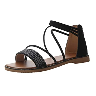 1f4f41446 Bohelly ♚♚ New Women Sandals Cross Sandals Summer Flat Shoes Bright Diamond  Slippers Casual Beach