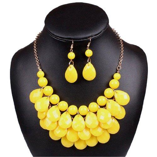 Earrings Teardrop Beaded - Lucite Teardrop Bead Beaded Fringe Bib Statement Choker Necklace Earrings (yellow)