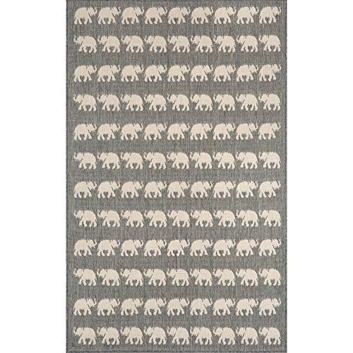 Trans Ocean Import Terrace Elephants Silver Rectangular: 1 Ft. 11 In. x 2 Ft. 11 In. Indoor/Outdoor ()