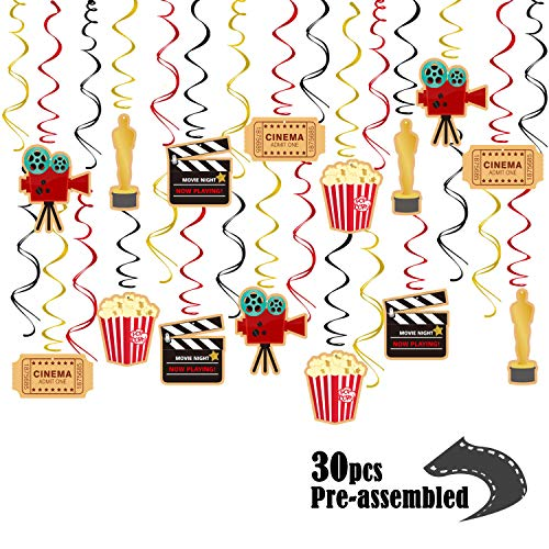 Movie Night Party Supplies Hanging Swirl Decorations, Hollywood Oscar Party Decorations, Ceiling Streamers for Kids Birthday, 30 CT]()