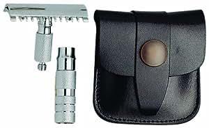 Merkur 985 - Maquinilla de afeitar desmontable de viaje (estuche de piel), diseño cromado