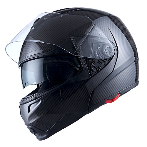 Carbon Fiber Face - 1Storm Motorcycle Street Bike Modular/Flip up Dual Visor/Sun Shield Full Face Helmet Carbon Fiber Black