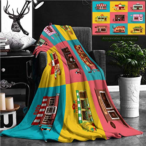 Unique Custom Flannel Blankets Set Of Flat Shop Building Facades Icons Illustration For Local Market Store House Design Super Soft Blanketry for Bed Couch, Throw Blanket 60