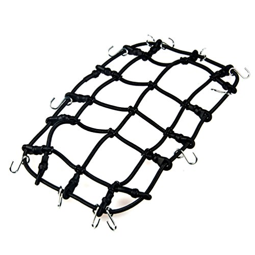 MOHERO 1/10 RC Elastic Luggage Net with Hook for 1:10th RC Vehicles RC Crawler Truck Car D90 TRX4 Roof Rack Black