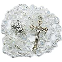 Beautiful White Transparent Beads Rosary Holy Land Necklace Virgin Mary Medal With Crucifix